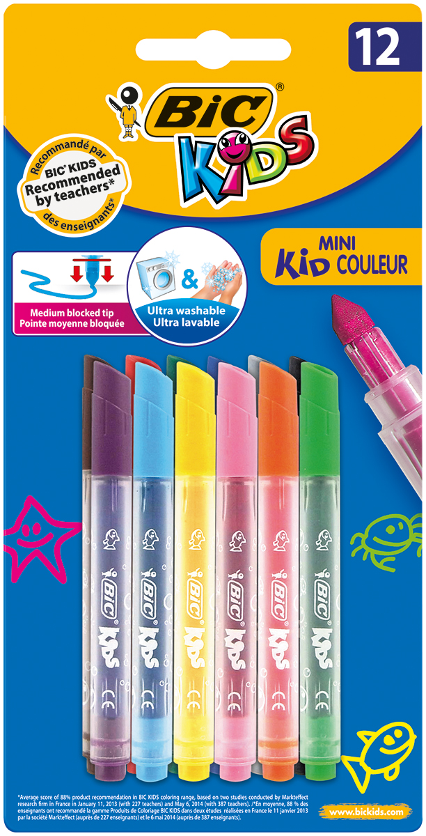 Bic Набор фломастеров Mini Kid Couleur 12 цветов фломастеры bic kids kid couleur 12 цветов