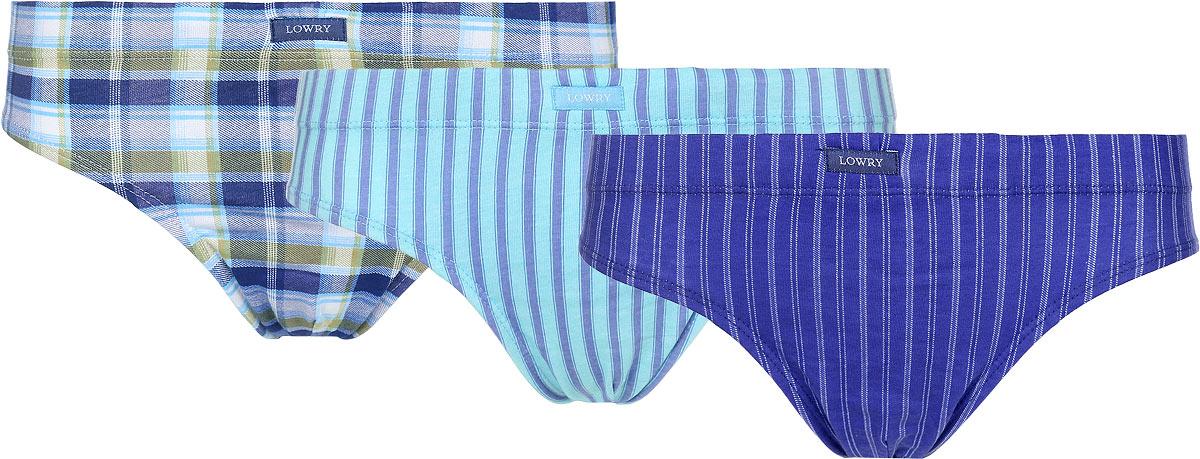 Трусы для мальчика Lowry, цвет: синий, голубой, 3 шт. BB-310. Размер S (30) трусы lowry трусы
