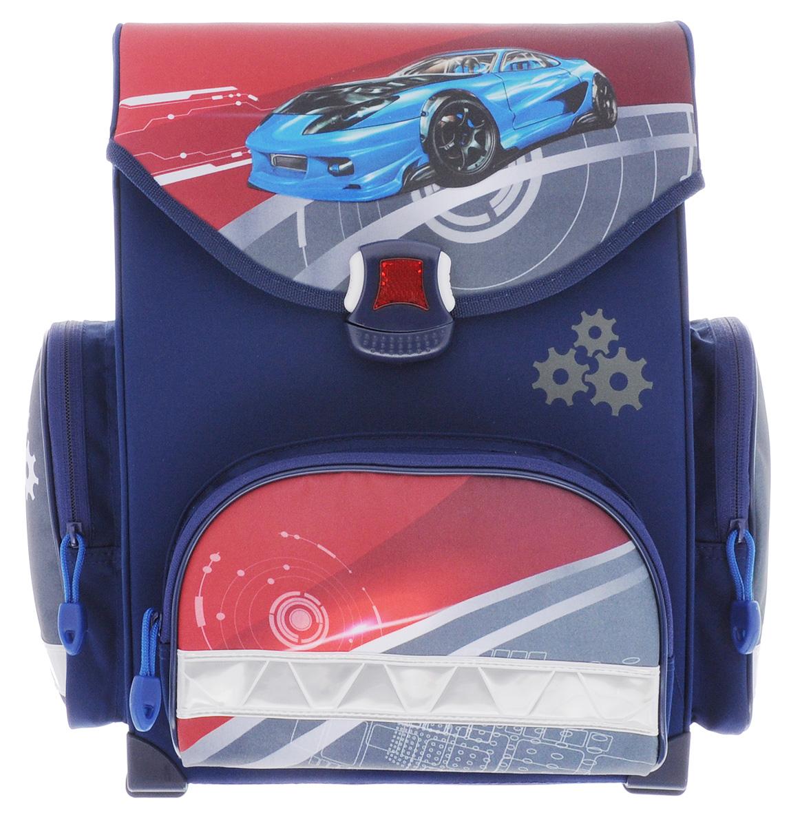 Action! Ранец школьный Спортивная машина11012/A/2BЯркий школьный ранец Action! Спортивная машина обязательно привлечет внимание школьника. Ранец выполнен из материалов высшего качества с водоотталкивающей пропиткой.Содержит одно вместительное отделение, закрывающееся клапаном на удобный защелкивающийся замок со встроенным светоотражателем, который легко открывать и закрывать. Внутри отделения имеется перегородка для тетрадей или учебников, а также навесной кармашек на молнии. Клапан полностью откидывается, что существенно облегчает пользование ранцем. На внутренней части клапана находится прозрачный пластиковый кармашек, в который можно поместить информацию о владельце. Ранец имеет два боковых кармана на молнии. Лицевая сторона ранца оснащена накладным карманом на застежке-молнии, который отлично подойдет для пенала.Конструкция спинки ранца дополнена эргономичными подушечками, противоскользящей сеточкой и системой вентиляции для предотвращения запотевания спины ребенка. Мягкие широкие лямки позволяют легко и быстро отрегулировать изделие в соответствии с ростом. Надежная ручка для переноски ранца в руке удобна как для ребенка, так и для его родителей. Пластиковые ножки на дне ранца обеспечивают хорошую устойчивость и защиту от загрязнений. Светоотражающие элементы придают дополнительную безопасность в темное время суток.Многофункциональный школьный ранец станет незаменимым спутником вашего ребенка в походах за знаниями.Вес ранца без наполнения: 880 г.
