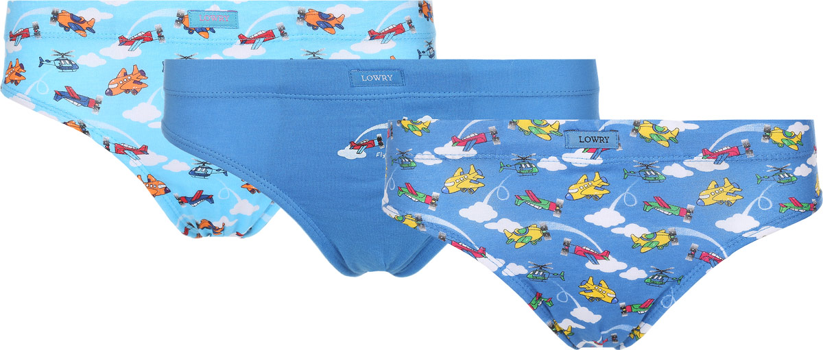 Трусы для мальчика Lowry, цвет: голубой, белый, синий, 3 шт. BB-305. Размер XL (134/140) трусы lowry трусы 3 шт