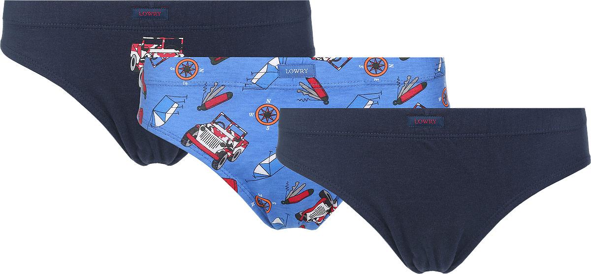 Трусы для мальчика Lowry, цвет: голубой, темно-синий, 3 шт. BB-293. Размер XL (134/140) трусы lowry трусы 3 шт