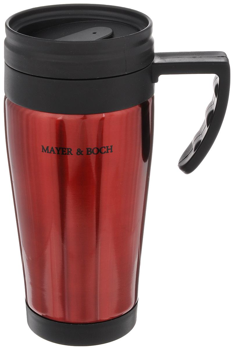Термокружка Mayer & Boch, цвет: красный, черный, 450 мл. 2587725877Герметичная термокружка Mayer & Boch изготовлена из высококачественного полипропилена и нержавеющей стали, удобна для использования в быту, походе и путешествиях. Она оснащена крышкой с системой быстрого открывания для легкого питья. Подходит для горячих и холодных напитков.Не рекомендуется мыть в посудомоечной машине. Можно хранить в холодильнике.Диаметр по верхнему краю: 7,5 см.Диаметр дна: 6,5 см.Высота: 18,5 см.