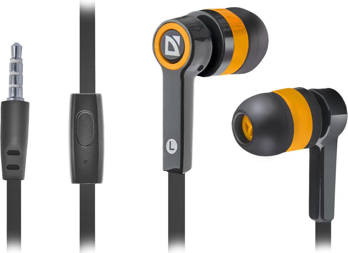 Defender Pulse 420, Black Orange гарнитура63420Defender Pulse 420 - отличный выбор для повседневного использования, в том числе, в общественном транспорте, на улице и в шумных помещениях, благодаря хорошей шумоизоляции. Гарнитура имеет встроенный пульт и микрофон для быстрого переключения между музыкой и вызовами. Подключив её к своему смартфону или планшету вы сможете не только наслаждаться любимой музыкой, но и с легкостью ответить на звонок, не доставая гаджет. Плоский кабель устойчив к запутыванию.