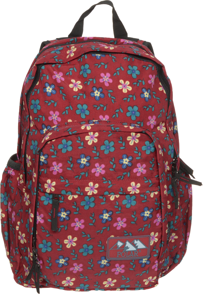 Рюкзак городской Polar, цвет: красный, 15 лП3901-01Женский городской рюкзак Polar с модным цветочным дизайном очень функционален и практичен. Рюкзак имеет 2 отделения, закрывающиеся на застежку-молнию, которые отлично подойдут для персональных вещей и документов A4. Одно из отделений имеет один карман на молнии и один открытый карман. Спереди расположен объемный карман с отделениями для мелких принадлежностей и кармашком на молнии. Также спереди имеется еще один дополнительный карман на молнии. Два боковых кармана на резинке предназначены для бутылки с водой. Полностью вентилируемая и удобная мягкая спинка, а также мягкие плечевые лямки регулируемой длины создают дополнительный комфорт при носке.