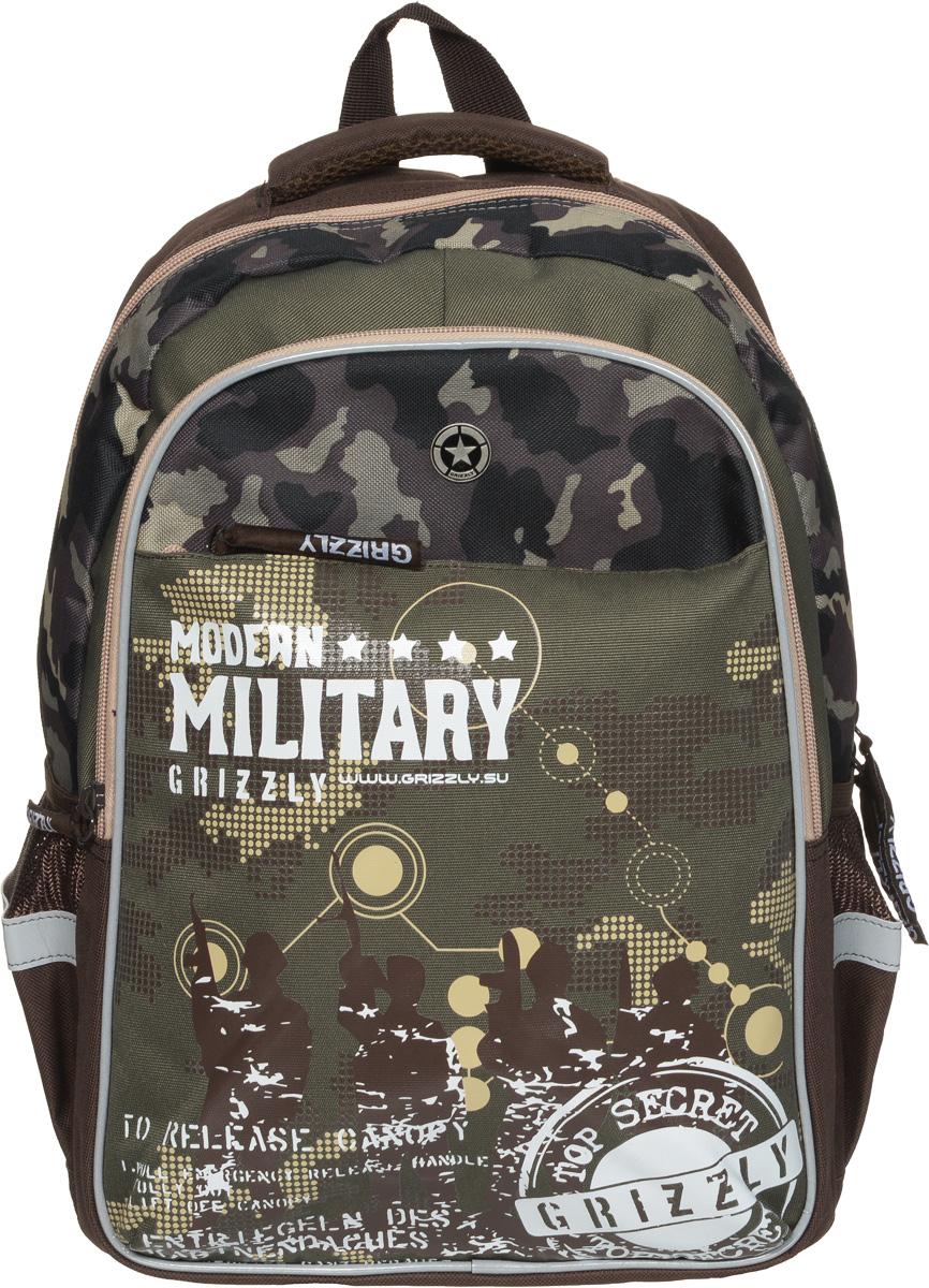 Grizzly Рюкзак детский Modern Military цвет коричневый хакиRB-632-2/2Детский рюкзак Grizzly Modern Military - это стильный рюкзак, который подойдет всем, кто хочет разнообразить свои школьные будни. Рюкзак выполнен из плотного полиэстера.Благодаря уплотненной спинке и двум мягким плечевым ремням, длина которых регулируется, у ребенка не возникнет проблем с позвоночником. Конструкция спинки дополнена двумя эргономичными подушечками, противоскользящей сеточкой и системой вентиляции для предотвращения запотевания спины ребенка.Рюкзак состоит из двух основных вместительных отделений, закрывающихся на застежки-молнии. Большое отделение содержит небольшой пришивной кармашек на молнии и два мягких разделителя для тетрадей и учебников, фиксирующихся резинкой. Дно рюкзака можно сделать жестким, разложив специальную панель с пластиковой вставкой, что повышает сохранность содержимого рюкзака и способствует правильному распределению нагрузки. Во втором отделении карманов нет. Лицевая сторона оснащена вместительным накладным карманом на застежке-молнии. По бокам рюкзака расположены два открытых кармана на резинке.Для удобной переноски предусмотрены удобная ручка и петля для подвешивания. Рюкзак оснащен светоотражающими элементами.Этот рюкзак можно использовать для повседневных прогулок, учебы, отдыха и спорта, а также как элемент вашего имиджа.