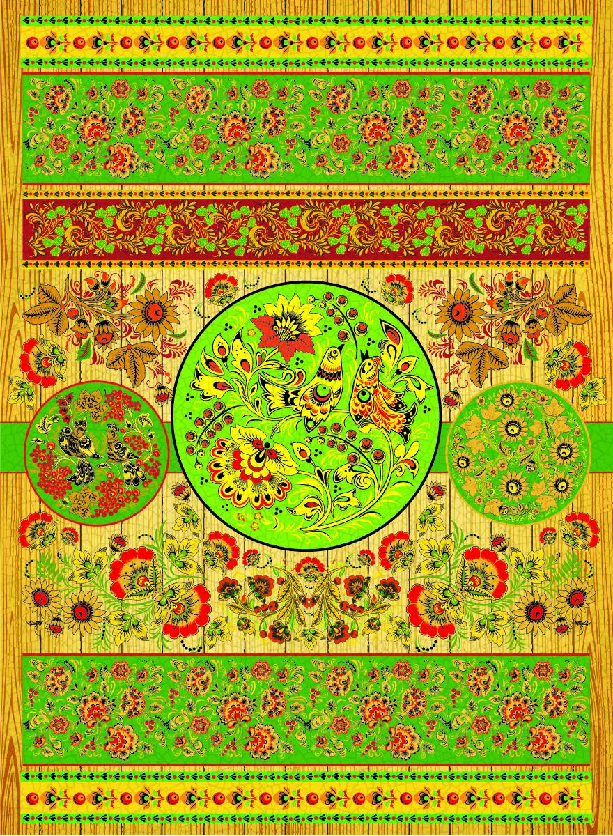 Рисовая бумага для декупажа Craft Premier Хохлома-зеленая, А3CPD0613Плотность бумаги 25 г/м