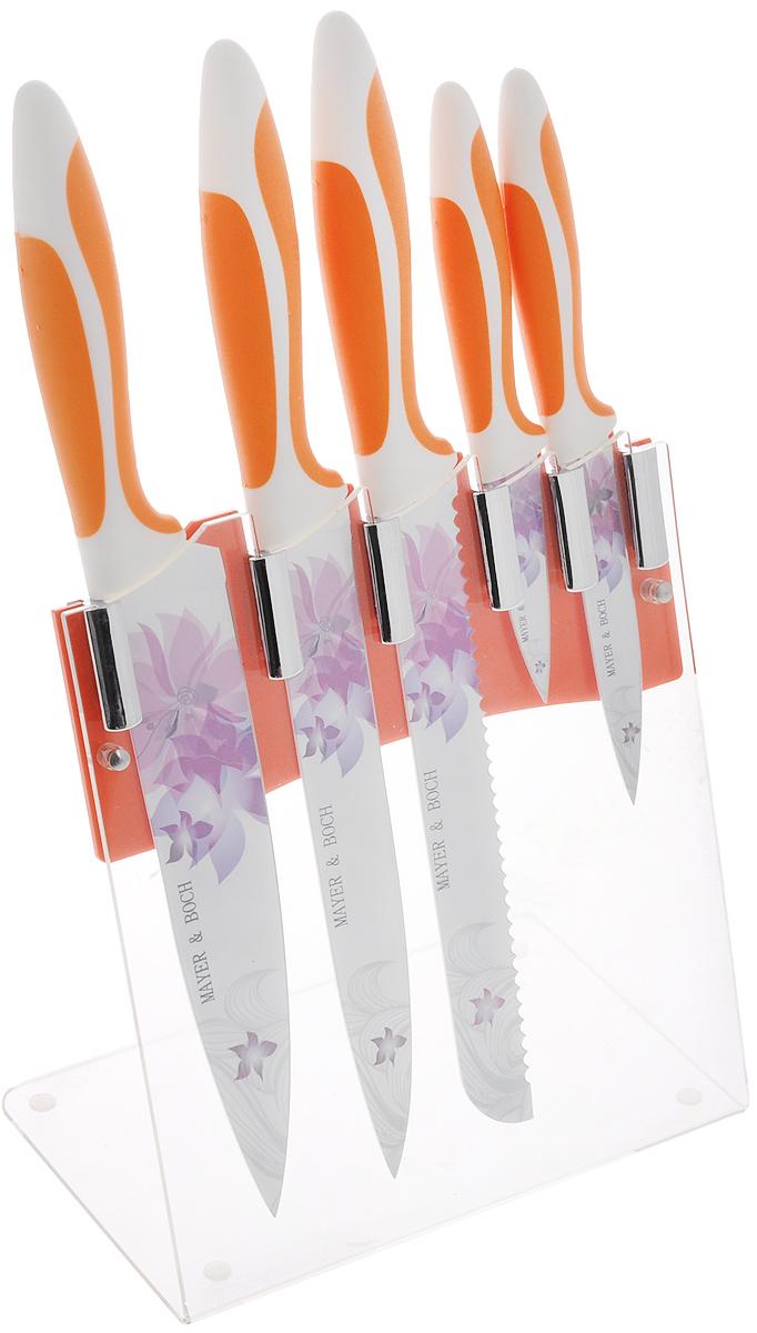 Набор ножей Mayer & Boch, на подставке, 6 предметов. 2245822458Набор Mayer & Boch состоит из 5 кухонных ножей и подставки. Лезвия ножей выполнены из высококачественной нержавеющей стали с покрытием non-stick.Рукоятки ножей, выполненные из полипропилена и термопластика, обеспечивают комфортный и легко контролируемый захват. Ножи прекрасно подходят для ежедневной резки фруктов, овощей и мяса. Компактная подставка выполнена из акрила. На дне подставки расположены силиконовые ножки для предотвращения скольжения по столу. В набор входят: - нож для очистки - маленький нож с коротким прямым лезвием. Им удобно снимать кожуру с любого фрукта и овоща; - нож универсальный - легкий и многофункциональный нож для резки небольших овощей и фруктов, колбасы, сыра, масла. Имеет неширокое лезвие, острие сцентрировано; - нож для хлеба - нож с зубчатой кромкой лезвия применяется для нарезки как свежих, так и черствых хлебобулочных изделий. При резке таким ножом мякиш изделия не нарушается. Нож применяется для резки рогаликов, булочек, бубликов и рулетов; - нож для разделки мяса - нож с длинным, не широким, но достаточно толстым лезвием и со сцентрированным острием. Используется для разделки больших кусков сырого и вареного мяса, разделки курицы, крупной рыбы; - нож поварской - нож с толстым, широким и длинным лезвием. Все это позволяет легко рубить капусту, овощи, зелень, резать замороженное мясо, рыбу и птицу.Этот набор включает все необходимое для каждодневного приготовления пищи. Современный дизайн украсит интерьер вашей кухни.Общая длина поварского ножа: 33,5 см.Длина лезвия поварского ножа: 20,3 см.Общая длина разделочного ножа: 33,5 см.Длина лезвия разделочного ножа: 20,3 см.Общая длина ножа для хлеба: 33,5 см.Длина лезвия ножа для хлеба: 20,3 см.Общая длина универсального ножа: 22 см.Длина лезвия универсального ножа: 11,4 см.Общая длина ножа для очистки: 18,5 см.Длина лезвия ножа для очистки: 7,6 см.Размер подставки (ДхШхВ): 19,5 х 12,5 х 23 см.