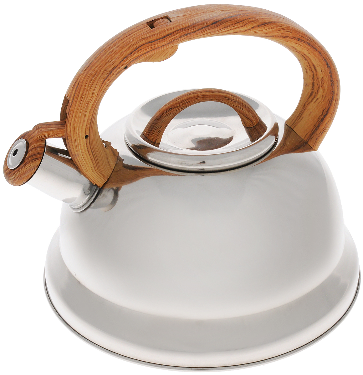 Чайник Mayer & Boch, со свистком, цвет: серебристый, коричневый, 3 л. 2574525745Чайник Mayer & Boch выполнен из долговечной и прочной нержавеющей стали, что делает его весьма гигиеничным и устойчивым к износу при длительном использовании. Гладкая и ровная поверхность существенно облегчает уход за посудой. Выполненный из качественных материалов чайник при кипячении сохраняет все полезные свойства воды. Изделие оснащено свистком, благодаря которому вы можете не беспокоиться о том, что закипевшая вода зальет плиту. Как только вода закипит - свисток оповестит вас об этом. Фиксированная ручка, изготовленная из пластика, делает использование чайника очень удобным и безопасным и отлично впишется в интерьер любой кухни.Подходит для всех типов плит, кроме индукционных. Можно мыть в посудомоечной машине..Высота чайника (с учетом ручки и крышки): 20 см. Диаметр основания: 22 см.Диаметр (по верхнему краю): 10 см.