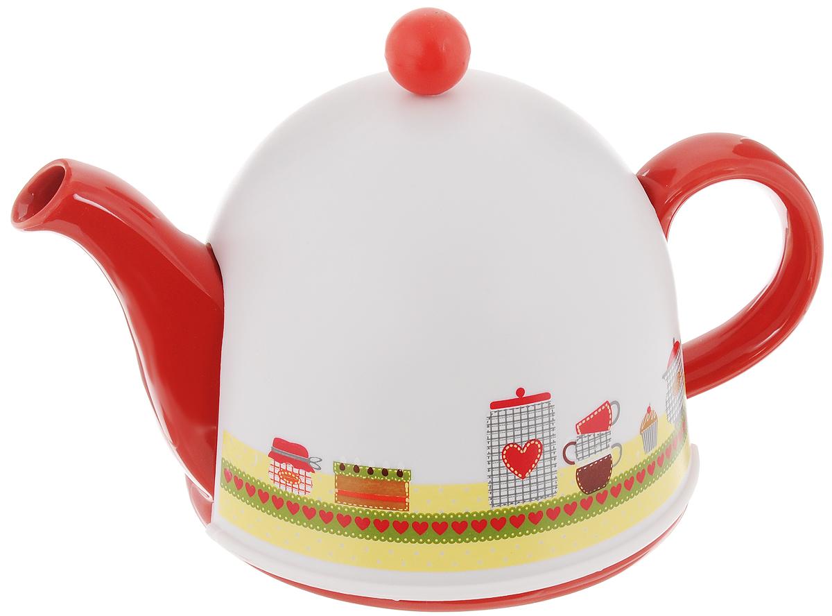 Чайник заварочный Mayer & Boch, с термоколпаком, с фильтром, 800 мл. 2431024310Заварочный чайник Mayer & Boch, выполненный из глазурованной керамики, позволит вам заварить свежий, ароматный чай. Чайник оснащен сетчатым фильтром из нержавеющей стали.Он задерживает чаинки и предотвращает их попадание в чашку. Сверху на чайник одевается термоколпак из пластика. Внутренняя поверхность термоколпака отделанатеплосберегающей тканью. Он поможет дольше удерживать тепло, а значит, вода в чайнике дольше будет оставаться горячей и пригодной для заваривания чая. Заварочный чайник Mayer & Boch эффектно украсит стол к чаепитию, а также послужит хорошим подарком для ваших друзей и близких.Диаметр чайника (по верхнему краю): 6 см.Диаметр основания чайника: 14 см.Диаметр фильтра (по верхнему краю): 5,5 см.Высота фильтра: 5,8 см.Высота чайника (без учета термоколпака и крышки): 9,5 см.Размер термоколпака: 15 х 14 х 13,5 см.