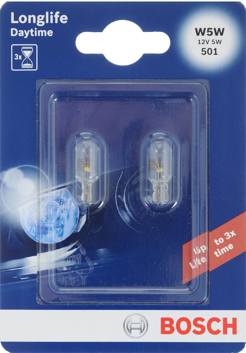 Лампа накаливания Bosch W5W, автомобильная, 12V, 5W, 2 шт1987301052Автомобильная малогабаритная лампа Bosch с металлическим цоколем предназначена для внутреннего и внешнего освещения. Также для фонаря освещения номерного знака, подкапотная ламп, лампа фонаря освещения багажника, стояночный и габаритный огонь. Питание: 12 В.Номинальная мощность: 5 Вт.