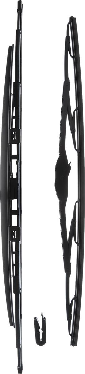 Щетка стеклоочистителя Bosch 801S, каркасная, со спойлером, длина 53/60 см, 2 шт3397001802Комплект Bosch 801S состоит из двух щеток разной длины, выполненных посовременной технологии извысококачественныхматериалов. Они обеспечивают идеальнуюочистку стекла в любую погоду. TWIN Spoiler - серия классических каркасных щеток со спойлером от компанииBosch. Эти щетки имеют полностью металлический каркас с двойной защитой откоррозии и сверхточный профиль резинового элемента с двумя чистящимикромками. Спойлер выполнен в виде крыла, который закрывает каркас щетки отвоздушного потока. Комплектация: 2 шт. Длина щеток: 53 см; 60 см.