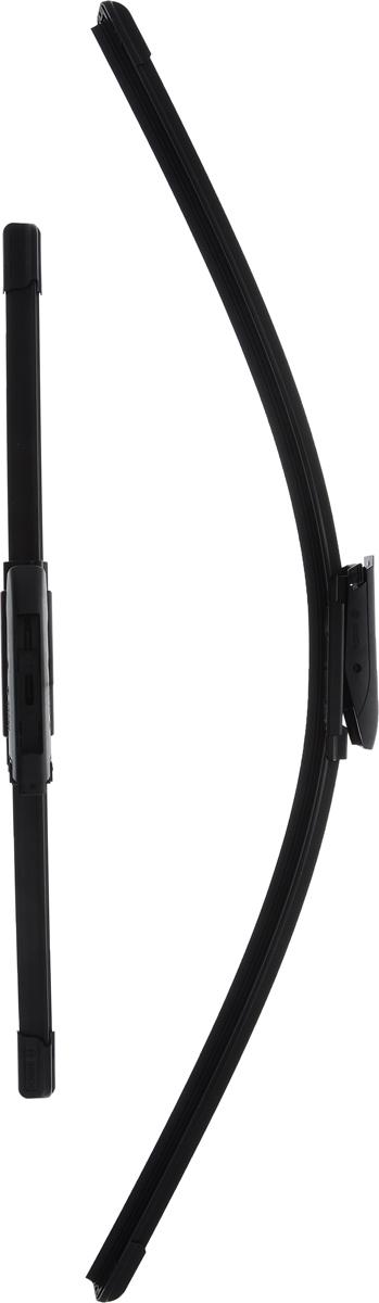 Щетка стеклоочистителя Bosch A422S, бескаркасная, со спойлером, длина 65/40 см, 2 шт щетка стеклоочистителя bosch ar813s бескаркасная со спойлером длина 65 45 см 2 шт