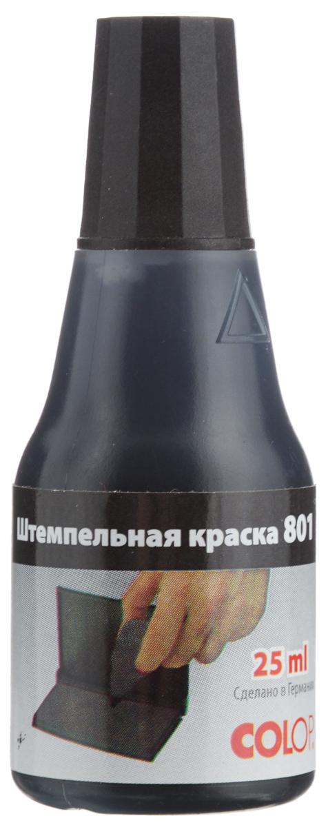 Colop Штемпельная краска цвет черный 25 мл801/25чШтемпельная краска Colop на водной основе с содержанием глицерина предназначена для дозаправки настольных штемпельных подушек. Используется с резиновым или полимерным клише. Предназначена для всех видов бумаги (кроме глянцевой) и картона. Флакон имеет дозатор и крышку, указывающую на цвет краски. Объем - 25 мл. Цвет - черный.
