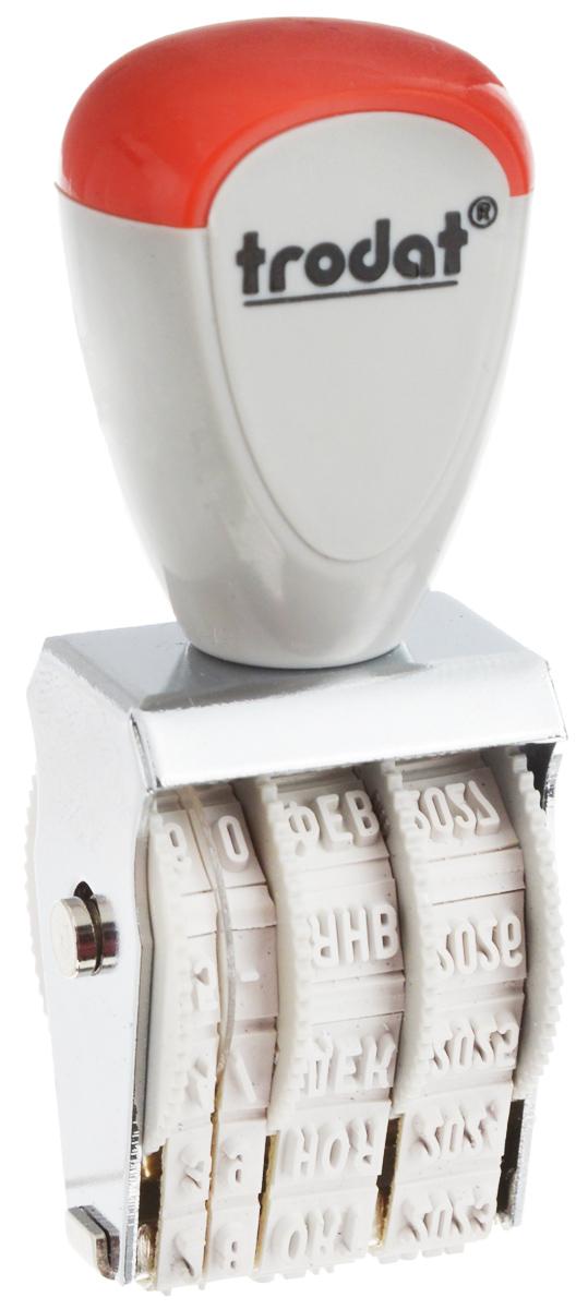 Trodat Датер ленточный 3 мм1000Датер Trodat будет незаменим в отделе кадров или в бухгалтерии любой компании.Компактный и прочный металлический корпус гарантирует долговечное бесперебойное использование. Модель отличается высочайшим удобством в использовании и оптимально ложится в руку благодаря эргономичной ручке. Высота шрифта - 3 мм.Для получения оттиска датер предварительно окрашивается при помощи настольной штемпельной подушки.Дата устанавливается вручную с помощью колесиков. Датер рассчитан до 2027 года. Месяц указывается прописью.