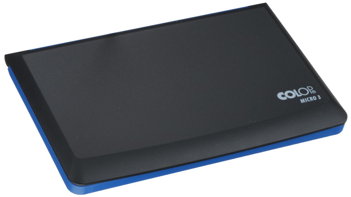 Colop Настольная штемпельная подушка цвет синий 90 х 160 ммMICRO3 сНастольная штемпельная подушка Colop имеет пластиковый корпус без замка. Заправлена краской на водной основе с содержанием глицерина.Используется для окрашивания ручных штампов, изготовленных из резины или полимера. Цвет - синий.