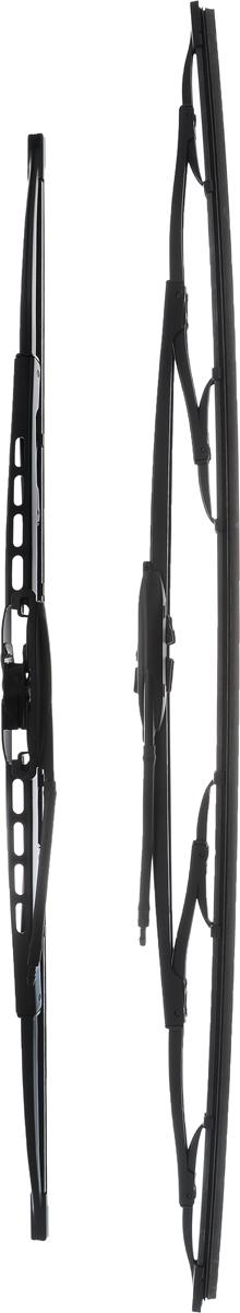 Щетка стеклоочистителя Bosch 725, каркасная, длина 55/65 см, 2 шт3397001725Комплект Bosch 725 состоит из двух щеток разной длины, выполненных по современной технологии из высококачественных материалов. Они обеспечивают идеальную очистку стекла в любую погоду.TWIN - серия классических каркасных щеток от компании Bosch. Эти щетки имеют полностью металлический каркас с двойной защитой от коррозии и сверхточный профиль резинового элемента с двумя чистящими кромками.Комплектация: 2 шт.Длина щеток: 55 см; 65 см.