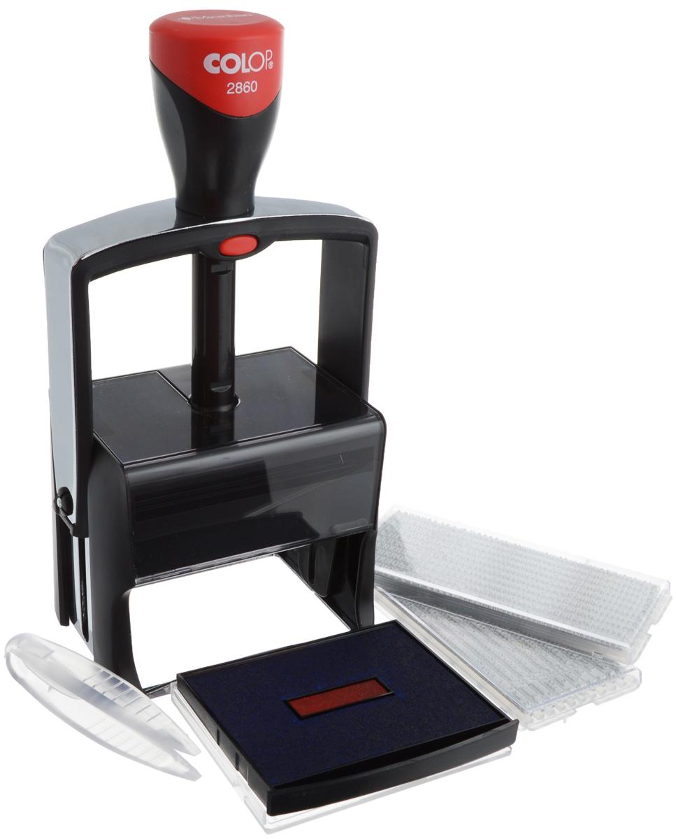 Colop Датер самонаборный десятистрочный Classic LineS2860 Set-FСамонаборный десятистрочный датер Colop Classic Line имеет металлический каркас, обрамлен пластиком. Автоматическое окрашивание текста. Встроенная антибактериальная защита на основе 3G-серебра в ручке и колпачке. Предназначен для работы с повышенной нагрузкой. Мягкость и бесшумность хода, легкий доступ к колесам смены даты. Ленты датерных механизмов закрыты специальным кожухом, который гарантирует абсолютную чистоту в процессе использования. Рифленая пластина для набора текста расположена вокруг даты, дата 4 мм - в центре, рассчитана на 12 лет, включая текущий год.В комплекте: датер с рифленой пластиной, пинцет, две кассы букв Type Set A и B, двухцветная сменная подушка.Размер: 68 мм х 49 мм. Месяц буквами. Крепление символов на одной ножке, экспресс-набор текста.
