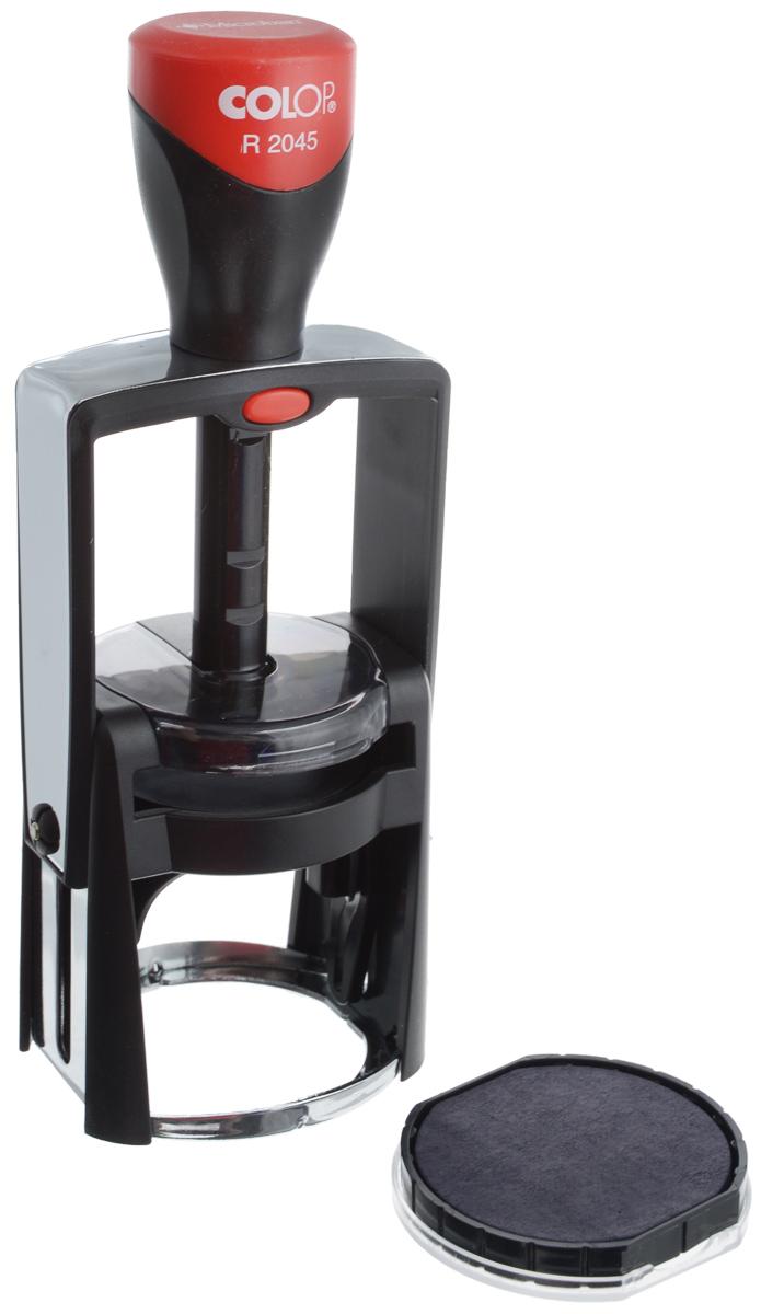 Colop Оснастка для круглой печати Classic Line 45 ммR2045Оснастка для круглой печати Colop Classic Line в металлическом корпусе с пластиковым обрамлением. Предназначена для круглой печати диаметром 45 мм. Отличается мягкостью и бесшумностью работы. Окрашивание происходит автоматически. Рукоятка оснастки - с антибактериальными свойствами.В комплекте: оснастка, синяя сменная подушка E/R45. Диаметр - 45 мм.