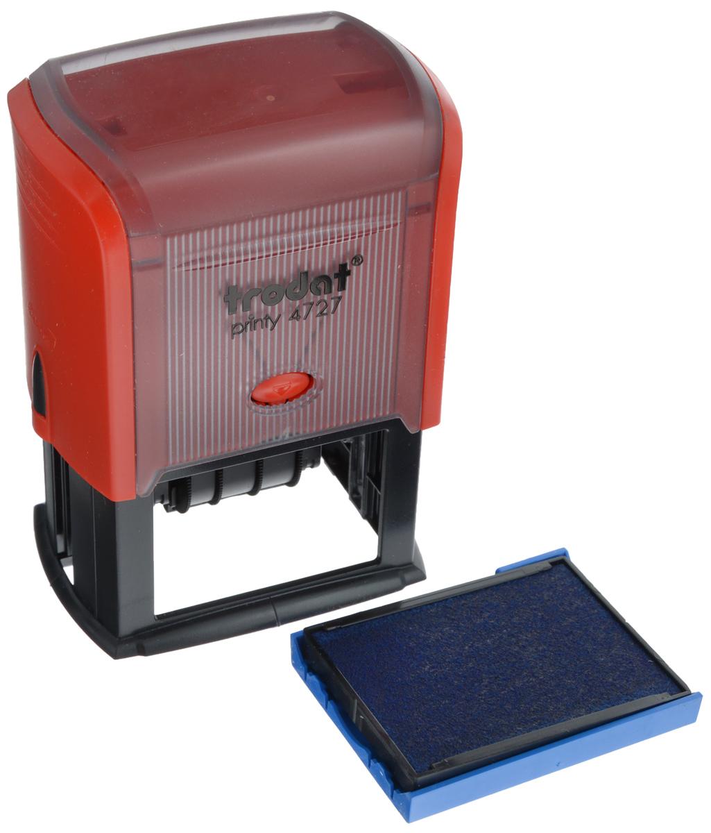 Trodat Датер со свободным полем 60 х 40 мм4727Датер Trodat имеет прочный пластиковый корпус с автоматическим окрашиванием.Дата находится в центре, вокруг даты свободное поле под изготовление клише. Подходит для работы в бухгалтерии, на складе, в банке. Размер свободного поля - 60 мм х 40 мм. В комплект входит сменная подушка, цвет синий.