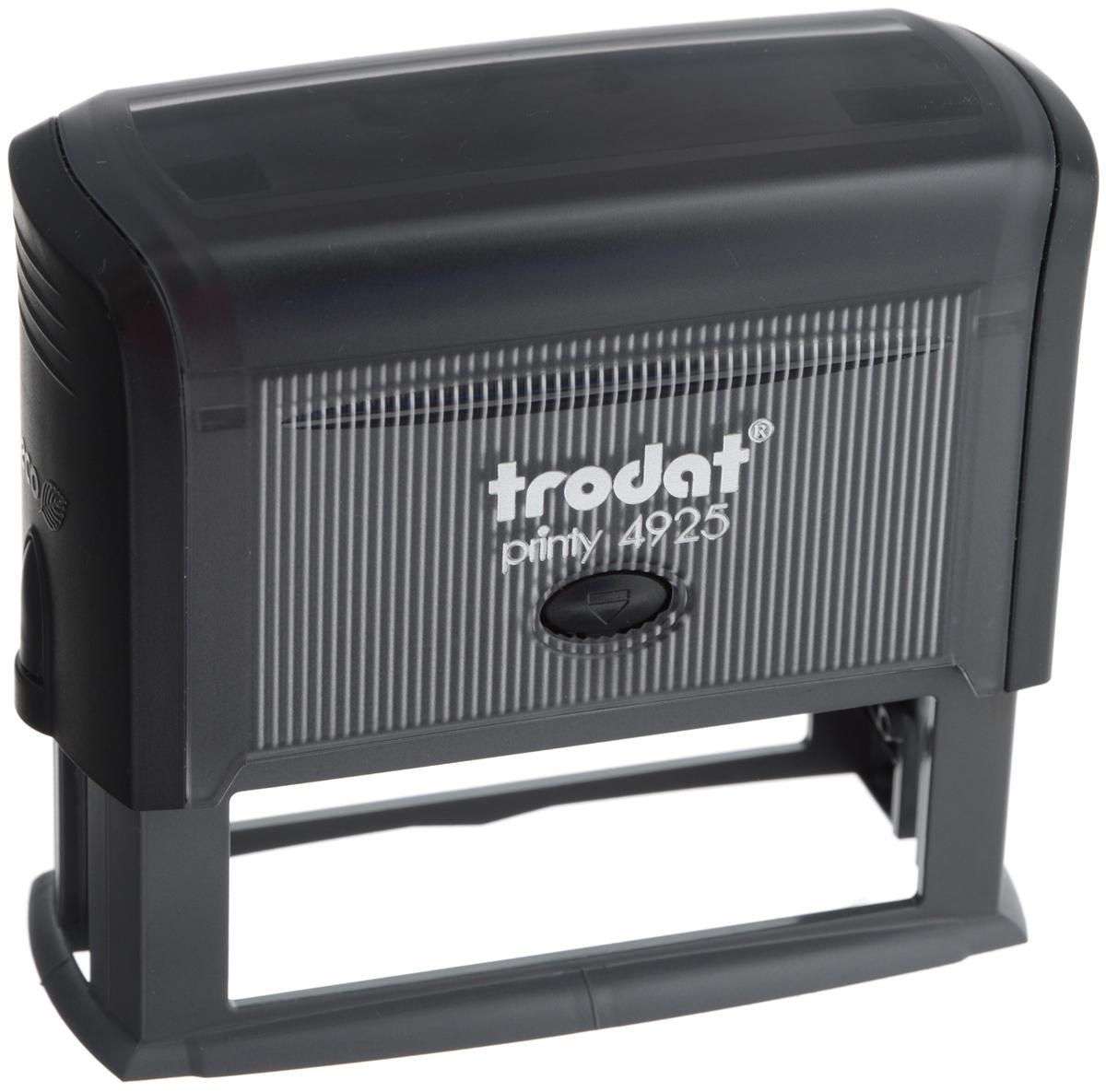 Trodat Оснастка для штампа 82 х 25 мм4925Оснастка для штампа Trodat будет незаменима в отделе кадров или в бухгалтерии любой компании.Прочный пластиковый корпус с автоматическим окрашиванием гарантирует долговечное бесперебойное использование. Модель отличается высочайшим удобством в использовании и оптимально ложится в руку. Оттиск проставляется практически бесшумно, легким нажатием руки. Улучшенная конструкция и видимая площадь печати гарантируют качество и точность оттиска.Текстовые пластины прямоугольной формы 82 мм х 25 мм подойдут для изготовления клише по индивидуальному заказу.Оснастка для штампа Trodat идеальна для ежедневного использования в офисе.