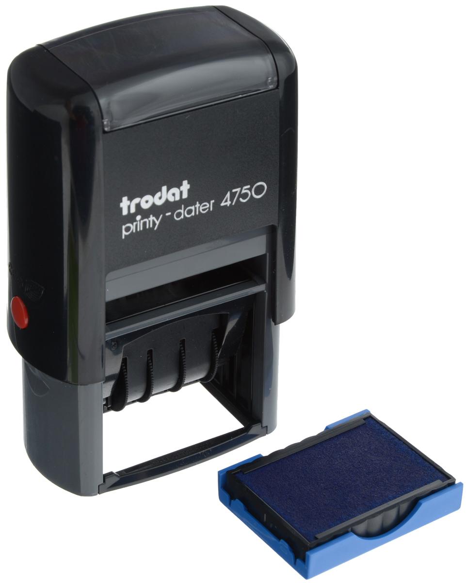 Trodat Датер со свободным полем 41 х 24 мм4750Датер Trodat имеет прочный пластиковый корпус с автоматическим окрашиванием.Дата находится в центре, вокруг даты свободное поле под изготовление клише. Подходит для работы в бухгалтерии, на складе, в банке. Размер свободного поля - 41 х 24 мм. В комплект входит сменная подушка, цвет -синий. Месяц указывается прописью.