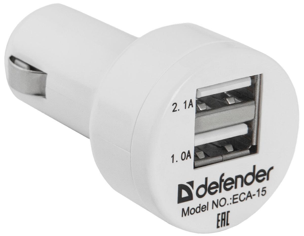 Defender ECA-15 автомобильное зарядное устройство83561Автомобильное зарядное устройство Defender ECA-15 незаменимо для зарядки различных типов устройств, таких как мобильные телефоны, смартфоны, навигаторы, регистраторы, радар-детекторы, MP3, PMP, PDA, цифровые фотокамеры. Защита от перегрузки и короткого замыкания помогает обезопасить заряжаемое устройство в случае возникновения каких-либо проблем при зарядке. Defender ECA-15 подходит для любого автомобиля: дляпитания требуется стандартная розетка 12В (обычный прикуриватель).ECA-15 дает возможность заряжать сразу два устройства от бортовой сети автомобиля, а световой индикатор подскажет вам о подключении к сети.