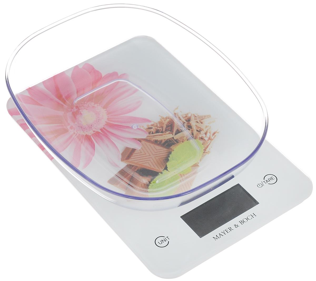 Весы кухонные Mayer & Bosh, с чашей, цвет: белый, розовый, коричневый, до 5 кг. 1096010960Кухонные весы Mayer & Boch изготовлены из высококачественного пластика. Изделие оснащено акриловой панелью и съемной чашей. Весы имеют цифровой LCD-дисплей с функцией автоматического отключения и тарокомпенсации, а также мощный процессор и тензометрический датчик высокой прочности. Кухонные весы Mayer & Boch пригодятся на любой кухне и станут прекрасным дополнением к набору вашей мелкой бытовой техники. Используя их, вы сможете готовить блюда, точно следуя предложенной рецептуре, что немаловажно при приготовлении сложных блюд, соусов и выпечки.Оригинальные, с ярким дизайном, такие весы украсят любую кухню и принесут радость каждой хозяйке. Нагрузка: 2 - 5000 г.Питание: ААА х 2 (входят в комплект).Размер весов: 23 х 15 х 1,5 см.Размер чаши: 22 х 17 х 4,5 см.