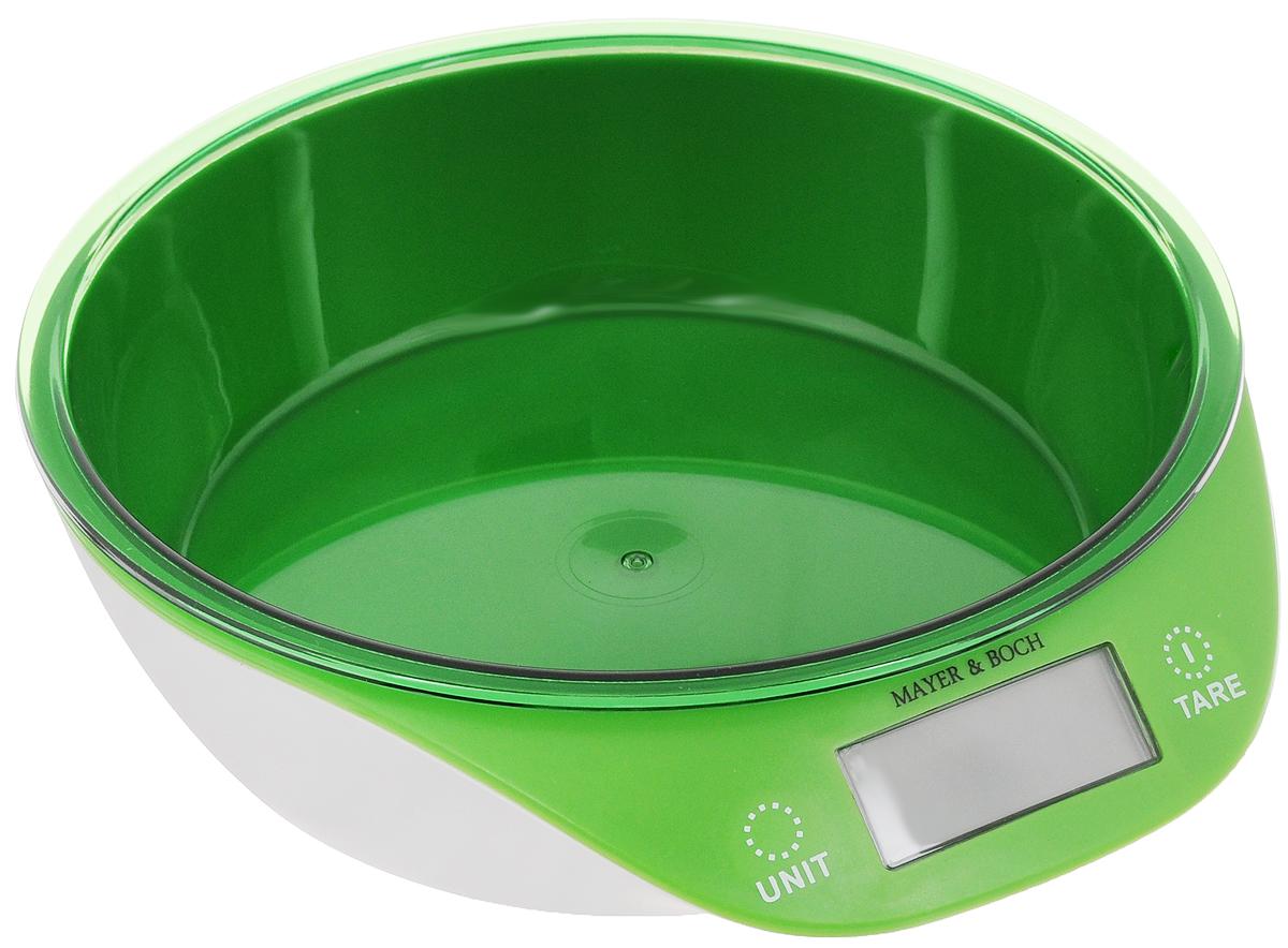 Весы кухонные Mayer & Bosh, с чашей, цвет: зеленый, белый, до 5 кг. 1095510955Кухонные весы Mayer & Boch изготовлены из высококачественного пластика. Изделие оснащено акриловой панелью и съемной чашей. Весы имеют цифровой LCD-дисплей с функцией автоматического отключения и тарокомпенсации, а также мощный процессор и тензометрический датчик высокой прочности. Кухонные весы Mayer & Boch пригодятся на любой кухне и станут прекрасным дополнением к набору вашей мелкой бытовой техники. Используя их, вы сможете готовить блюда, точно следуя предложенной рецептуре, что немаловажно при приготовлении сложных блюд, соусов и выпечки.Оригинальные, с ярким дизайном, такие весы украсят любую кухню и принесут радость каждой хозяйке. Нагрузка: 2-5000 г.Питание: ААА х 2 (входят в комплект).Размер весов: 20 х 19 х 5,5 см.Размер чаши: 18 х 18 х 4,5 см.