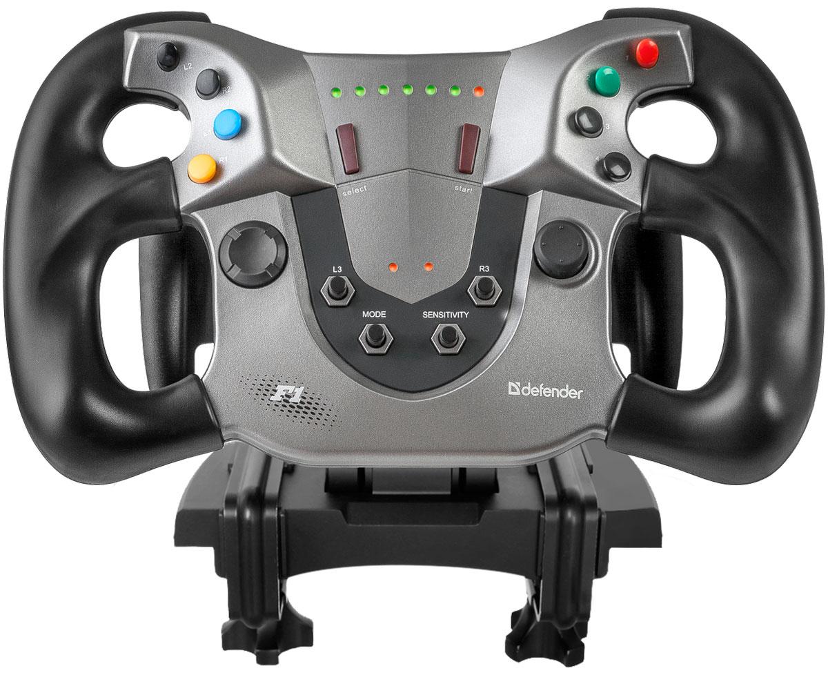 Defender Forsage Sport USB/PS3 игровой руль64372Игровой руль Defender Forsage Sport оснащен бесконтактной магнитной технологией позиционирования M-Force: специальные сенсоры, реагирующие на малейшее изменение магнитного поля во время игры, позволяют отказаться от контактных деталей в механизмах измерения угла поворота рулевого колеса. Подобные технологии уже много лет применяются в автомобилестроении и зарекомендовали себя как самые точные и надежные.Благодаря отсутствию трения при использовании магнитных датчиков механического износа деталей нет. Ломаться также нечему – мелкие хрупкие элементы просто отсутствуют. Поэтому датчики надежно работают десятки лет без потери качества.Магнитные датчики обладают высочайшей скоростью отклика и точностью позиционирования. Электроника способна регистрировать повороты в сотые доли градуса, что обеспечивает отсутствие мертвых зон и позволяет уверенно управлять вашим игровым транспортным средством.Двухпозиционное крепление позволяет надежно установить руль Defender Forsage Sport как на столешнице, так и под ней. Специальные металлические струбцины жёстко фиксируют девайс и даже в самые захватывающие моменты конструкция будет недвижима.Съемное рулевое колесо легко отсоединяется от базы. Закрепив базу под столешницей и сняв руль, вы сможете в течение минуты переоборудовать свой кокпит в обычное рабочее место. Регулировка угла наклона рулевого колеса позволяет настроить его положение для управления виртуальным автомобилем в диапазоне от 75 до 135 градусов относительно столешницы — игровой процесс будет максимально комфортным. Форма рулевого колеса повторяет внешний вид штурвала болида Формулы 1. Достоверные впечатления в процессе гонки гарантированы! Разборная конструкция педальной базы обеспечивает удобное хранение и транспортировку устройства в упаковке. Разноразмерные педали облегчают игровой процесс и повышают реалистичность виртуального вождения.Большая площадь основания и специальные резиновые ножки обеспечивают устойчивость п