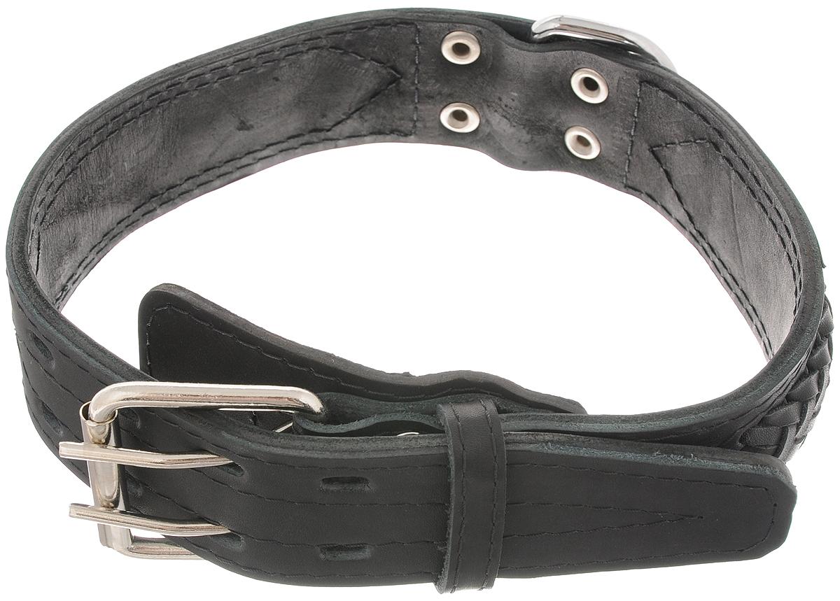 Ошейник для собак Каскад Элита, цвет: черный, ширина 4,5 см, обхват шеи 51-60 см