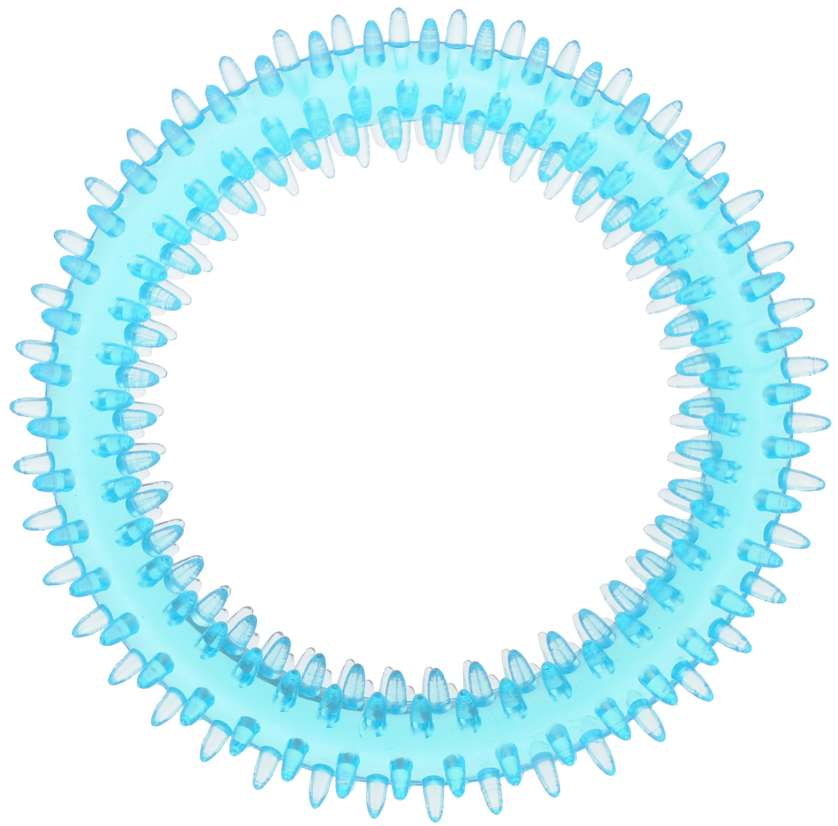 Игрушка для собак Каскад Кольцо шипованное для чистки зубов, цвет: голубой, диаметр 12 см игрушка для животных каскад мячик пробковый диаметр 3 5 см