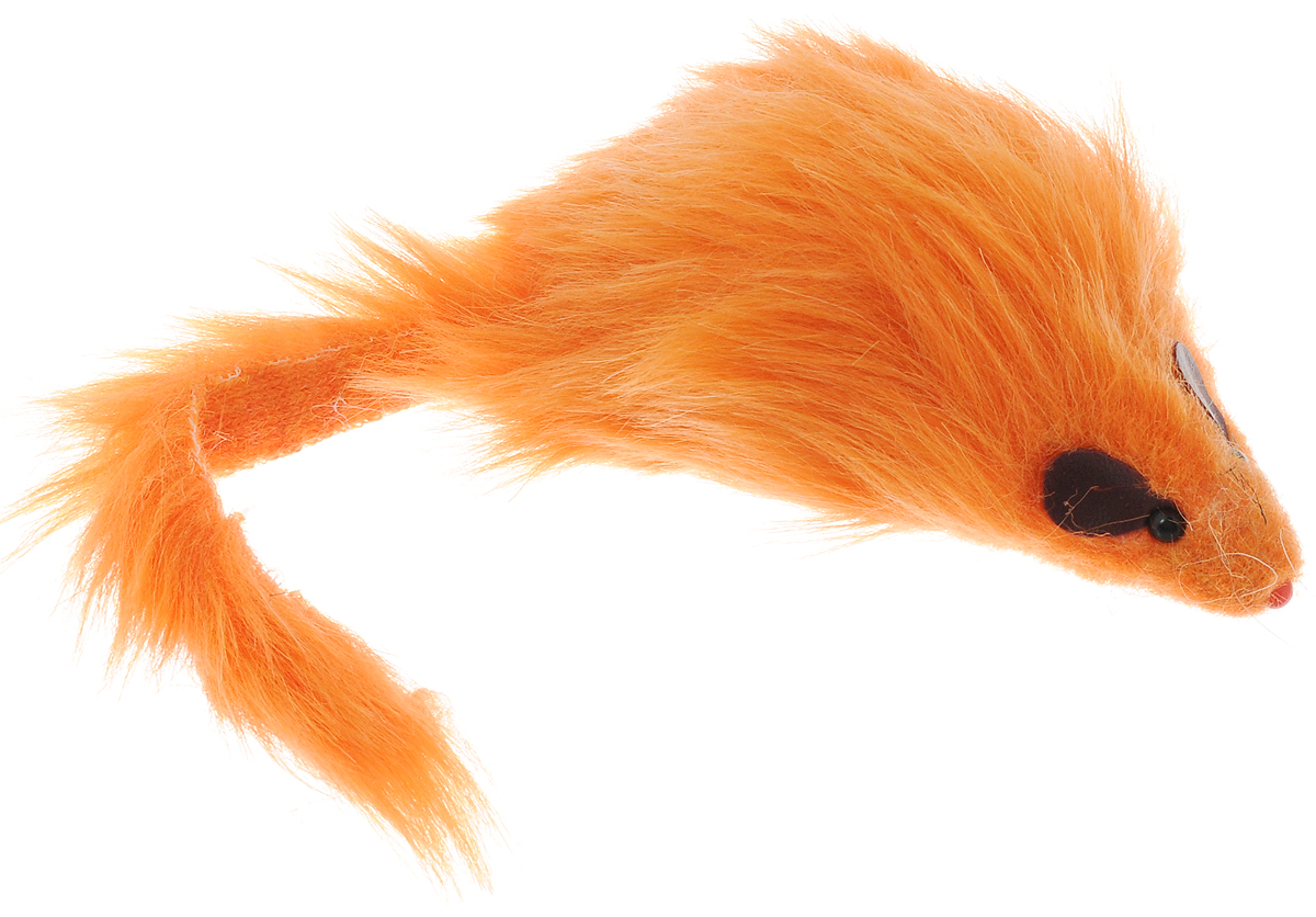 Игрушка для кошек Каскад Мышь, с длинным мехом, цвет: оранжевый, длина 12,5 см игрушка для кошек каскад мышь на пружине цвет серый длина 9 см