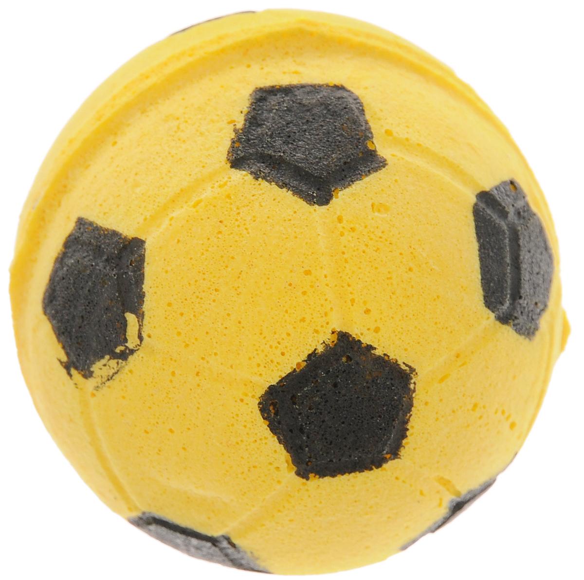 Игрушка для животных Каскад Мячик зефирный. Футбольный, цвет: желтый, диаметр 4,5 см игрушка для животных каскад мячик пробковый цвет зеленый 3 5 см