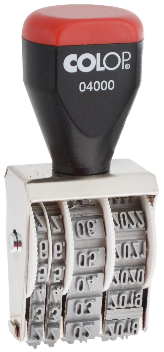Colop Датер ленточный месяц цифрами04000BankЛенточный цифровой датер Colop с удобной рукояткой в металлическом корпусе используется для проставления даты производства, срока годности. Для получения оттиска предварительно окрашивается при помощи настольной штемпельной подушки. Дата устанавливается вручную при помощи колесиков. Оттиск однострочный. Высота шрифта - 4 мм, месяц указывается цифрами.