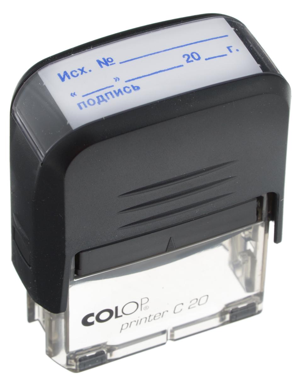 Colop Штамп Printer C20 Исх № Дата Подпись с автоматической оснасткойPocket Stamp R40Штамп Colop Printer C20. Исх. №. Дата. Подпись с автоматической оснасткой имеет современный, инновационный дизайн. Компактный надежный корпус из пластика оптимального размера с поворотным механизмом, окрашивающим текст, удобен в использовании. Размер штампа: 38 мм х 14 мм. Абсолютно прозрачное основание для удобства размещения штампа на документах.Штампы с готовым текстом содержат самые популярные слова для работы секретаря, бухгалтера, кассира.В комплекте: штамп, сменная подушка синего цвета E/20.
