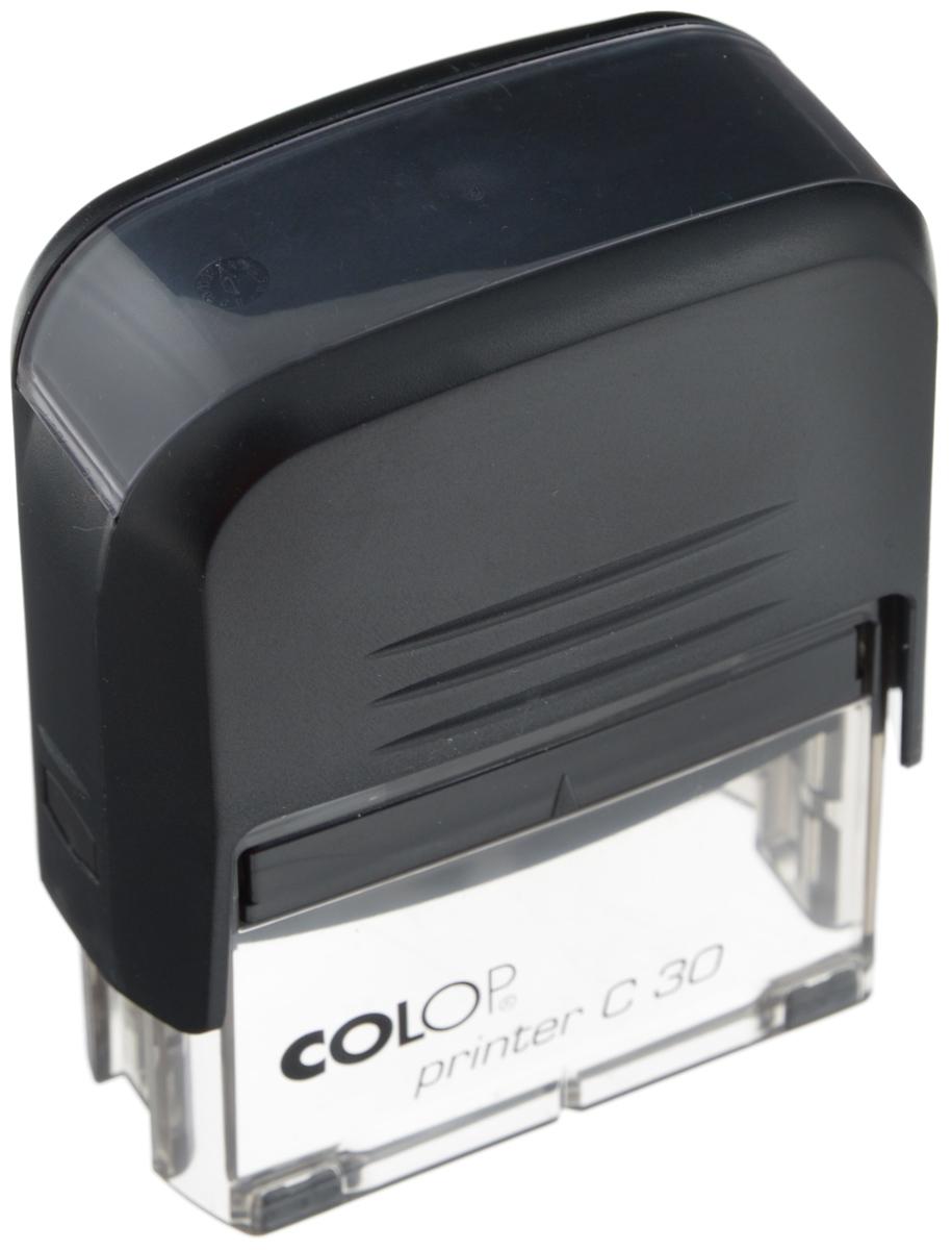 Colop Оснастка для штампа 18 х 47 ммPrinter C30-SETАвтоматическая оснастка Colop с надежным корпусом из пластика и поворотным механизмом, окрашивающим текст. Используется для самостоятельного набора и изменения текста. Крепление символов на одной ножке. Количество строк и символов в строке при использовании рамки указано в скобках. Штампы, модифицированные рамкой, могут использоваться как с рамкой, так и без. Количество строк - 5.В комплекте: оснастка, синяя сменная подушка С10894.