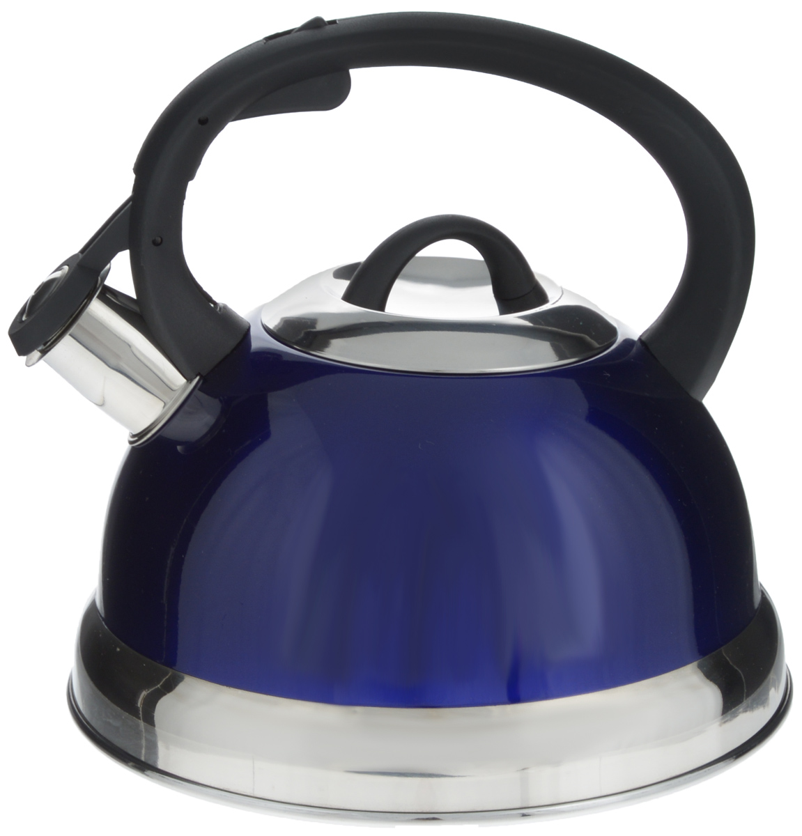 Чайник Mayer & Boch, со свистком, цвет: синий, черный, серебристый, 2,6 л. 2828Чайник Mayer & Boch выполнен из высококачественной нержавеющей стали, что делает его весьма гигиеничным и устойчивым к износу при длительном использовании. Носик чайника оснащен насадкой-свистком, что позволит вам контролировать процесс подогрева или кипячения воды. Фиксированная ручка, изготовленная из пластика, делает использование чайника очень удобным и безопасным. Поверхность чайника гладкая, что облегчает уход за ним. Эстетичный и функциональный чайник будет оригинально смотреться в любом интерьере.Подходит для всех типов плит, включая индукционные. Можно мыть в посудомоечной машине.Высота чайника (с учетом ручки и крышки): 20,5 см.Диаметр чайника (по верхнему краю): 10,5 см.Диаметр основания: 21 см.