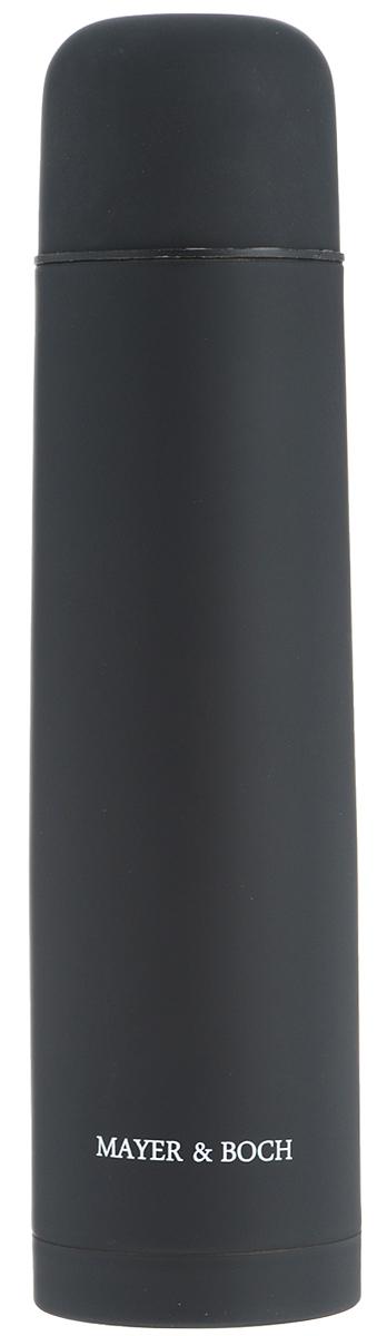 Термос Mayer & Boch, цвет: черный, 1 л. 2588125881Термос Mayer & Boch выполнен из качественной нержавеющей стали, которая не вступает в реакцию с содержимым термоса и не изменяет вкусовых качеств напитка. Двойная стенка из нержавеющей стали сохраняет температуру на срок до 24-х часов. Вакуумный закручивающийся клапан предохраняет от проливаний, а удобная кнопка-дозатор избавит от необходимости каждый раз откручивать крышку. Крышку можно использовать как чашку. Цветное покрытие обеспечивает защиту от истирания корпуса. Данная модель термоса прочная, долговечная и в то же время легкая. Стильный металлический термос понравится абсолютно всем и впишется в любой интерьер кухни. Не рекомендуется мыть в посудомоечной машине.Диаметр горлышка: 5 см. Диаметр основания термоса: 8 см. Высота термоса: 31,5 см.