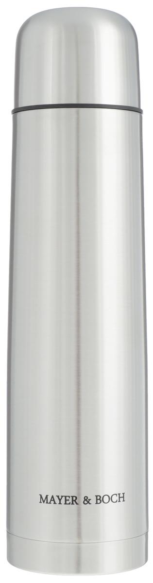 Термос Mayer & Boch, 1 л. 2588925889Термос Mayer & Boch выполнен из качественной нержавеющей стали, которая не вступает в реакцию с содержимым термоса и не изменяет вкусовых качеств напитка. Двойная стенка из нержавеющей стали сохраняет температуру на более длительный срок. Вакуумный закручивающийся клапан предохраняет от проливаний, а удобная кнопка-дозатор избавит от необходимости каждый раз откручивать крышку. Крышку можно использовать как чашку. Данная модель термоса прочная, долговечная и в тоже время легкая. Стильный металлический термос понравится абсолютно всем и впишется в любой интерьер кухни. Не рекомендуется мыть в посудомоечной машине.Диаметр горлышка: 5 см. Диаметр основания термоса: 8 см. Высота термоса: 32 см.
