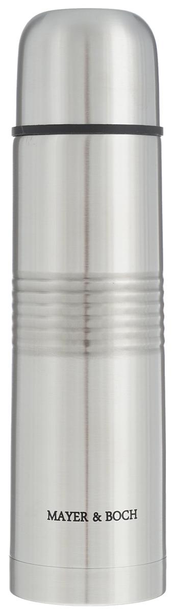 """Термос """"Mayer & Boch"""" выполнен из высококачественной нержавеющей стали, которая не вступает в реакцию с содержимым термоса и не изменяет вкусовых качеств напитка. Двойная стенка из нержавеющей стали сохраняет температуру напитков в течение 24 часов.  Вакуумный закручивающийся клапан предохраняет от проливаний, а удобная кнопка-дозатор избавит от необходимости каждый раз откручивать крышку. Крышку можно использовать как чашку. Ребристая поверхность термоса предотвратит скольжение рук. Данная модель термоса прочная, долговечная и в то же время легкая.Термос """"Mayer & Boch"""" понравится абсолютно всем и впишется в любой интерьер кухни.  Не рекомендуется мыть в посудомоечной машине.  Диаметр горлышка: 4,4 см.  Диаметр основания термоса: 6,6 см.  Высота термоса: 24,5 см."""