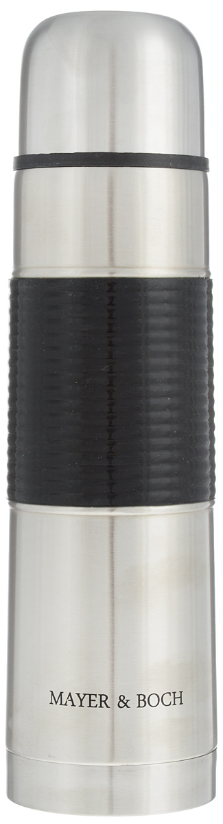 Термос Mayer & Boch, 750 мл. 2588225882Термос Mayer & Boch выполнен из высококачественной нержавеющей стали, которая не вступает вреакцию с содержимым термоса и не изменяет вкусовых качеств напитка. Двойная стенка изнержавеющей стали сохраняет температуру на более длительный срок. Вакуумный закручивающийся клапан предохраняет от проливаний, а удобная кнопка-дозаторизбавит от необходимости каждый раз откручивать крышку. Крышку можно использовать какчашку. Ребристая силиконовая вставка на корпусе термоса предотвратит скольжение рук. Даннаямодель термоса прочная, долговечная и в тоже время легкая. Стильный металлический термос понравится абсолютно всем и впишется в любой интерьеркухни. Не рекомендуется мыть в посудомоечной машине.Диаметр горлышка: 4,5 см. Диаметр основания термоса: 7,5 см. Высота термоса: 28,5 см.