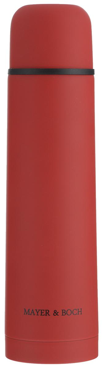 Термос Mayer & Boch, цвет: красный, 750 мл. 2589025890Термос Mayer & Boch выполнен из качественной нержавеющей стали, которая не вступает в реакцию с содержимым термоса и не изменяет вкусовых качеств напитка. Двойная стенка из нержавеющей стали сохраняет температуру на срок до 24-х часов.Вакуумный закручивающийся клапан предохраняет от проливаний, а удобная кнопка-дозатор избавит от необходимости каждый раз откручивать крышку. Крышку можно использовать как чашку. Цветное покрытие обеспечивает защиту от истирания корпуса. Данная модель термоса прочная, долговечная и в тоже время легкая.Стильный металлический термос понравится абсолютно всем и впишется в любой интерьер кухни.Не рекомендуется мыть в посудомоечной машине.Диаметр горлышка: 4,4 см.Диаметр основания термоса: 7,5 см.Высота термоса: 28,5 см.