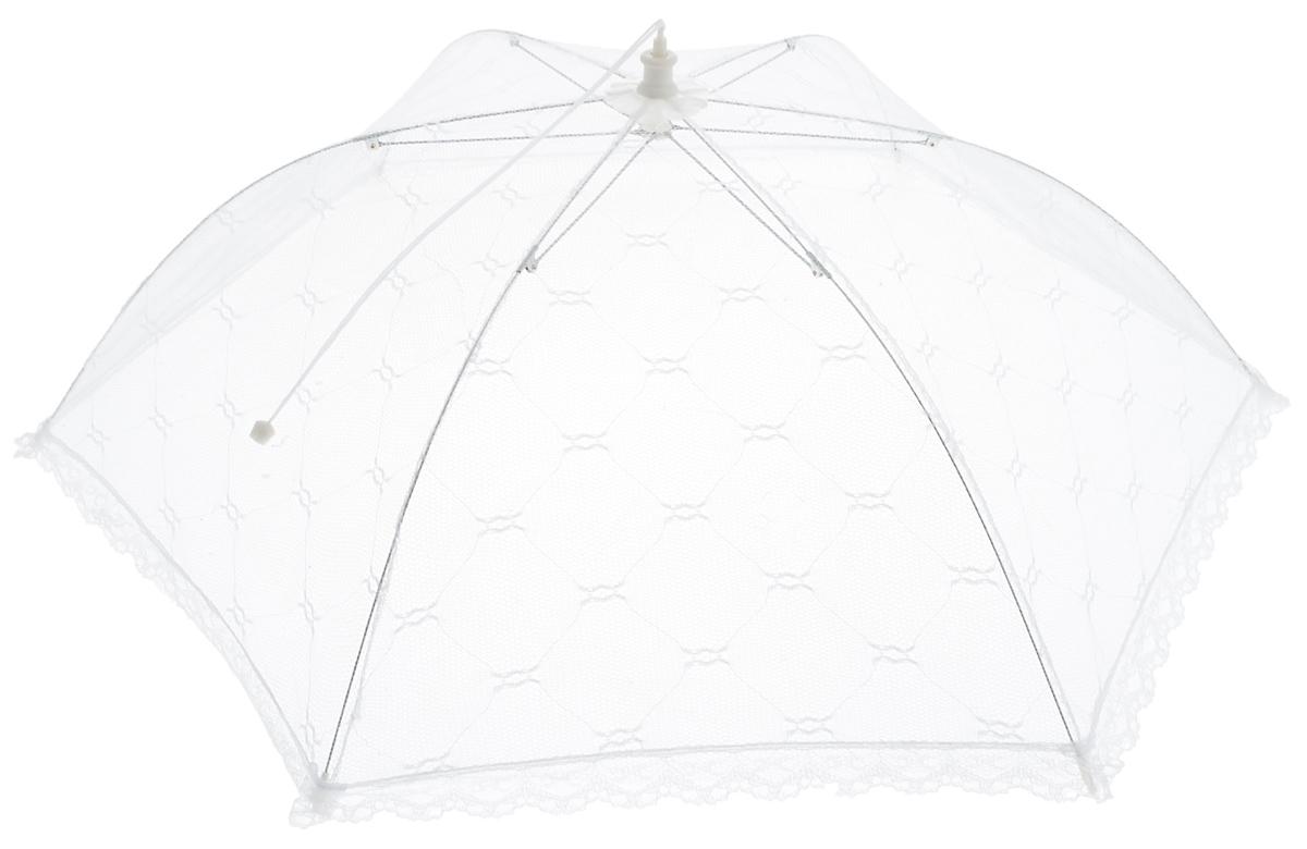 """Зонт для продуктов """"Мультидом"""" изготовлен из полиэстеровой сетки с каркасом из пластмассы и металла. Изделие выполнено в виде шестиугольного купола, который легко собирается и разбирается. Таким зонтом очень удобно пользоваться на природе, он защитит ваши продукты от назойливых насекомых.       Размер (в собранном виде): 65 х 65 х 20 см.    Длина зонта (в сложенном виде): 42,5 см."""