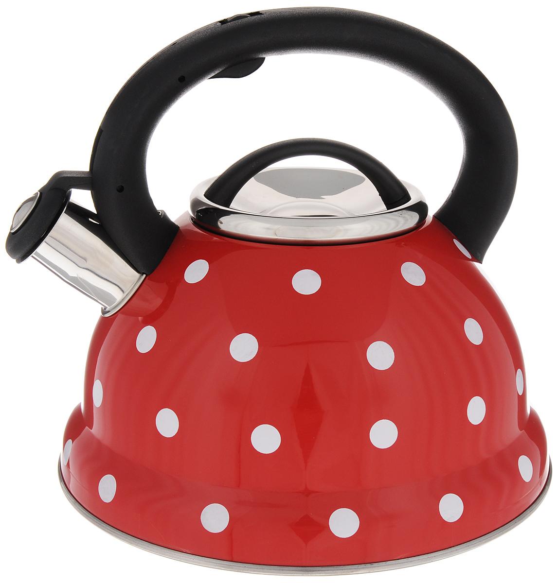 Чайник Mayer & Boch Горох, со свистком, 2,8 л. 2497324973Чайник со свистком Mayer & Boch изготовлен из высококачественной нержавеющей стали, что обеспечивает долговечность использования. Носик чайника оснащен откидным свистком, звуковой сигнал которого подскажет, когда закипит вода. Фиксированная ручка, изготовленная из пластика и цинка, снабжена клавишей для открывания носика, что делает использование чайника очень удобным и безопасным. Чайник Mayer & Boch - качественное исполнение и стильное решение для вашей кухни. Подходит для всех типов плит, включая индукционные. Можно мыть в посудомоечной машине. Высота чайника (с учетом ручки): 21,5 см.Высота чайника (без учета ручки и крышки): 12 см.Диаметр чайника (по верхнему краю): 10 см.Диаметр основания: 22 см.