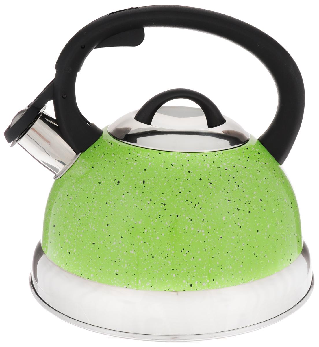 Чайник Mayer & Boch, со свистком, цвет: салатовый, 2,6 л. 2566325663Чайник со свистком Mayer & Boch изготовлен из высококачественной нержавеющей стали, что обеспечивает долговечность использования. Носик чайника оснащен откидным свистком, звуковой сигнал которого подскажет, когда закипит вода. Фиксированная ручка, изготовленная из пластика, снабжена клавишей для открывания носика, что делает использование чайника очень удобным и безопасным.Чайник Mayer & Boch - качественное исполнение и стильное решение для вашей кухни. Подходит для всех типов плит, включая индукционные. Можно мыть в посудомоечной машине. Высота чайника (с учетом ручки): 20,5 см.Диаметр чайника (по верхнему краю): 10 см.Диаметр основания: 21 см.