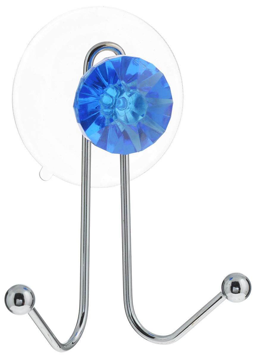 Крючок двойной Top Star Kristall, на вакуумной присоске, цвет: синий, серебристый, 11 х 8 х 4,5 см280881_синийКрючок Top Star изготовлен из хромированной стали и украшен пластиковой вставкой в виде кристалла. Крючок крепится к поверхности при помощи присоски. Для надежности крепления присоску необходимо устанавливать на гладкой, воздухонепроницаемой, очищенной и обезжиренной поверхности. Такой крючок прекрасно впишется в интерьер ванной комнаты и поможет эффективно организовать пространство.