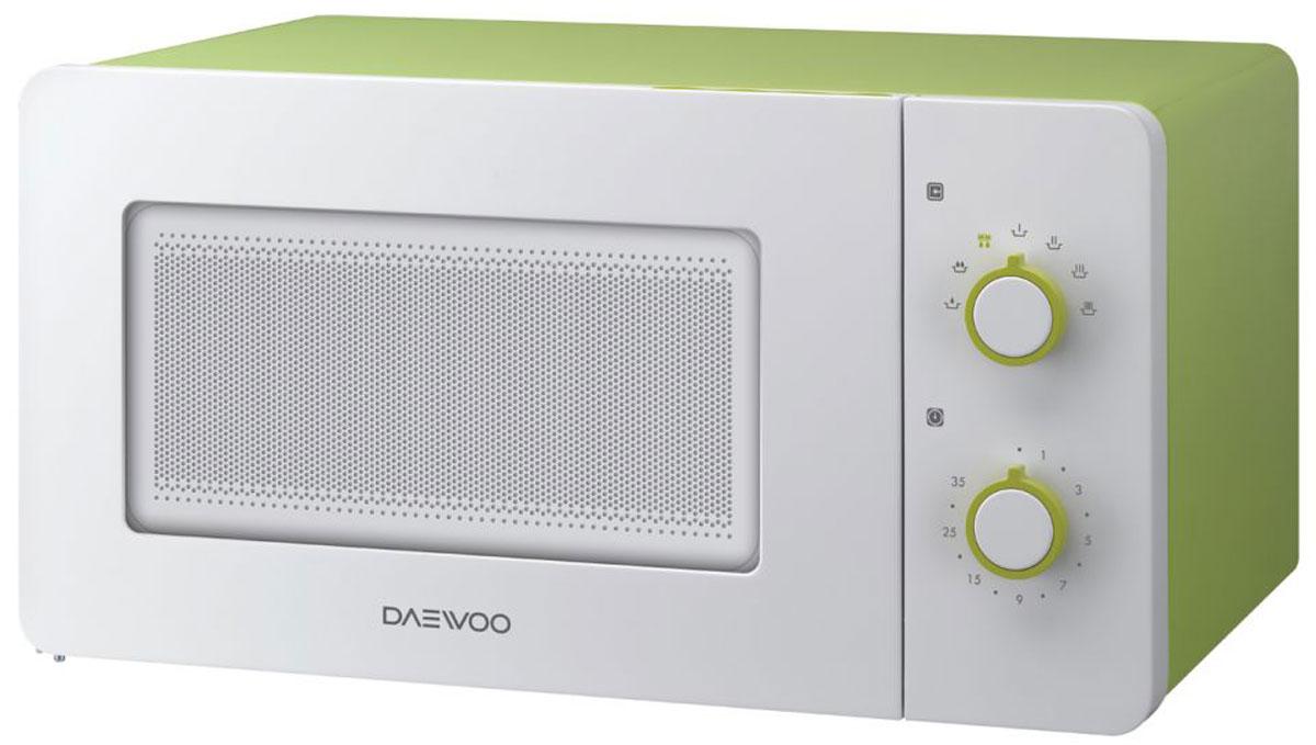 Daewoo KOR-5A17, White Green СВЧ-печьKOR-5A17Микроволновая печь Daewoo KOR-5A17 с механическим типом управления, объемом 15 л., с выходной мощностью 500 Вт имеет самый компактный размер, а также представлена в ярком цветовом решении. Модель оснащенавстроенной системой Diamond, с помощью которой у вас легко получится равномерно приготовить и разморозить различные блюда. Внутреннее покрытие задней стенки микроволновой печи в форме 11 бриллиантов позволяет равномерно готовить и размораживать еду. Рельеф в форме бриллиантов направляет волны таким образом, что еда прогревается равномерно по всей высоте и внутри.