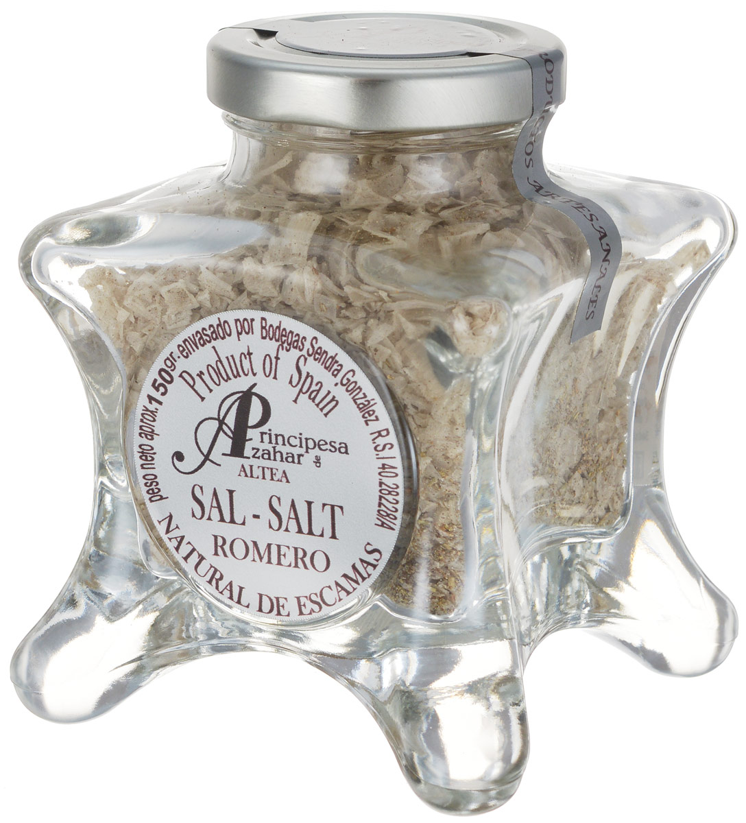 Principe de Azahar морская пищевая соль с розмарином, 150 г8436531342852Пищевая натуральная морская соль с розмарином Principe de Azahar от фермера Sendra Gonzalez - это продукт для гурманов, а также любителей кулинарии с воображением. Морская соль полезнее обычной поваренной, так как содержит высокую концентрацию магния и других полезных веществ. Размер кристаллов составляет 4-12 мм.