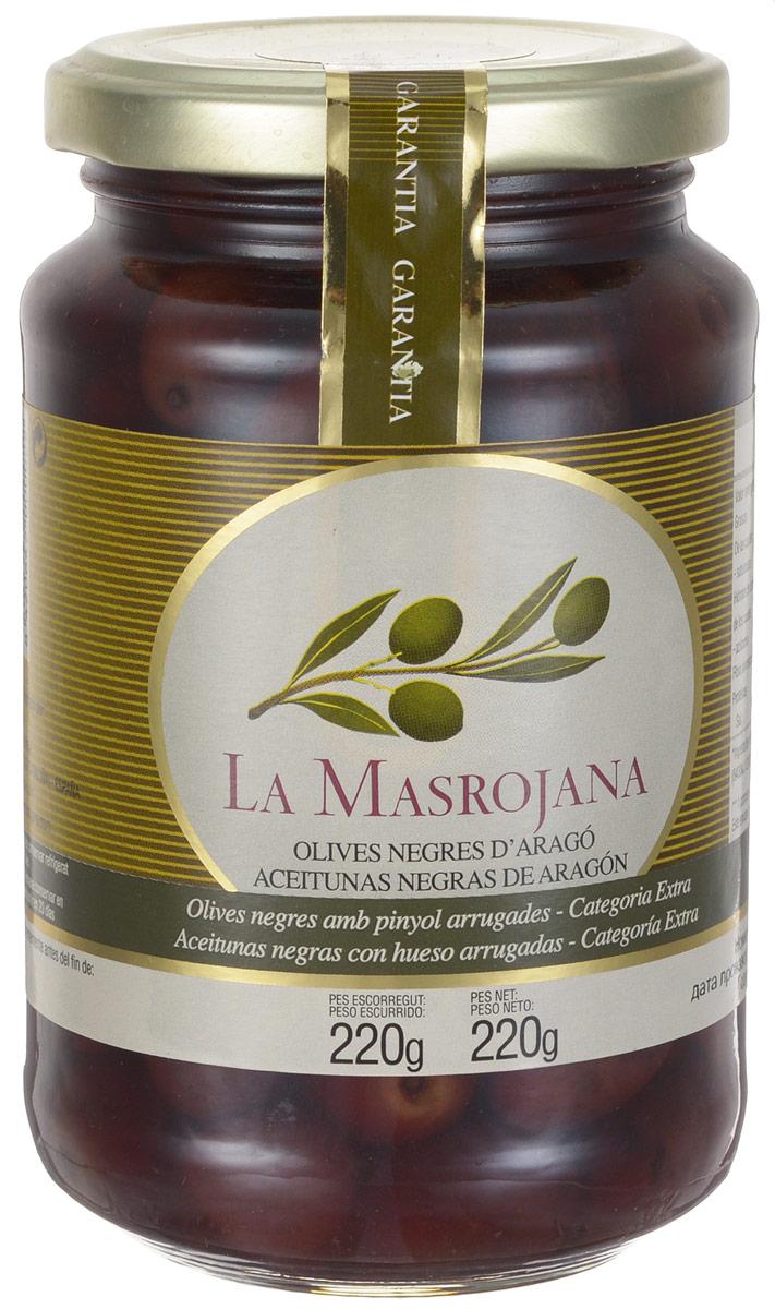 La Masrojana оливки черные сорта Арагон с косточкой, 220 г8420642000022Черные оливки La Masrojana сорта Арагон с косточкой без искусственных добавок: красителей, консервантов, усилителей вкуса! Это единственная натуральная черная оливка, которая не подвергается химической обработке для приобретения черного цвета. Для изготовления использую только натуральные ингредиенты - вода, морская соль.Тот факт, что этот сорт собирают в уже зрелом виде придает оливкам не такую твердую структуру, как у окрашенных черных оливок, и более мягкий и приятный вкус, абсолютно отличающийся от других оливок. Эти оливки собираются вручную, таким образом, мы предотвращаем их повреждение и удары об стекло, предоставляя продукт наивысшего качества. Эти оливки - идеальная закуска, отлично сочетаются с оливковым маслом, пряными травами или чесноком.Сбор оливок осуществляется вручную, в результате оливки отличного качества и после обработки, имеют исключительный цвет и аромат, который отражает традиции и образ жизни.