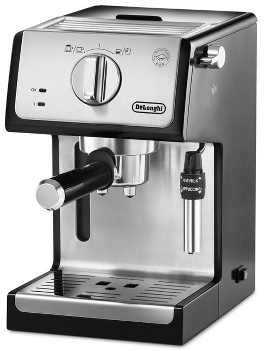 DeLonghi ECP35.31 кофеварка рожковая0132104159Кофеварка DeLonghi ECP35.31 идеальна для тех, кто ценит простоту: строгий стиль, компактность и лёгкое управление. Не смотря на лаконичность и несложность, кофеварка быстро приготовит для вас качественный кофе, будь то ароматный эспрессо или капучино с нежной молочной пенкой.Управлять кофеваркой очень просто:необходимо заполнить резервуар водой, засыпать в рожоккофейный порошок и при помощи встроенного пресса хорошенько утрамбовать его, установить рожок в пост и повернуть переключатель.Корпус и бойлер кофеварки DeLonghi ECP35.31 изготовлены из нержавеющей стали, что гарантируют долгий срок службы. Съемный контейнер для воды и поддон для капель обеспечивают лёгкость ухода за кофеваркой.Благодаря эксклюзивному регулируемому традиционному капучинатору с двумя уровнями вспенивания молока можно приготовить нежную воздушную пенку для капучино или горячее молоко для кофе латте в итальянском стиле.
